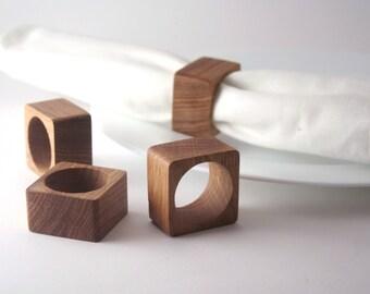 Wooden Napkin Rings set of four. Wood Napkin Holders. Oak wood napkin rings.