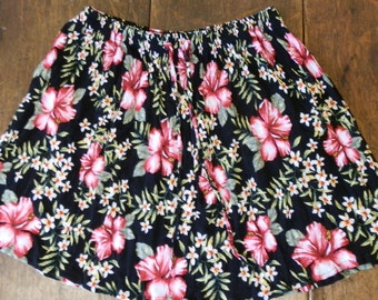 Reclaimed Vintage Crinkle Viscose Black and Pink Floral Mini Skirt Size Small/Medium