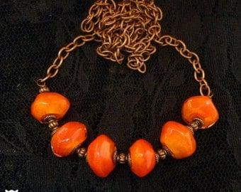 Orange Glass Beaded Necklace, Handmade Glass Bead Necklace, Copper Necklace, Orange Necklace