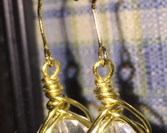 Gold Wire Wrapped Dangle Earring