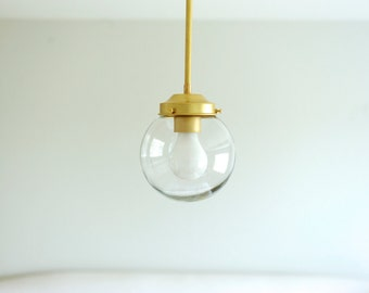 "Brass Pendant Light with 6"" Clear Globe"