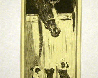 Diana Thorne Vintage Dog Print  - 1936 - Three PUPPIES and a HORSE - Big Boy - Fine Quality Professionally Matted Art Ready to Frame Art