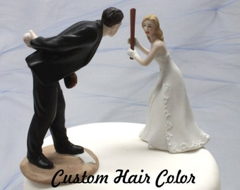 Custom Wedding Cake Topper - Personalized Wedding Cake Topper - Baseball Wedding Cake Topper - Baseball - Pitching Groom - Home Run Bride