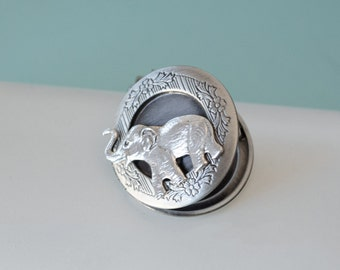 Elephant Locket Elephant Necklace Locket Necklace Elephant Jewery Trunk Up for Good Luck Secret Locket Antique Silver Gift for Her