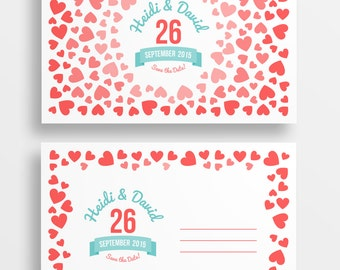 Ombre hearts save the date postcard - printable save the date - DIGITAL DOWNLOAD