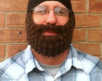 Crochet Bearded Beanie Hat, Crocheted Beard, Child Beard Hat, Adult Beard Beanie