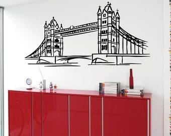 London Bridge Wall Decals London Interior Design England Living Room Wall Decor Vinyl Sticker Home Decor Wall Art Decor KG481