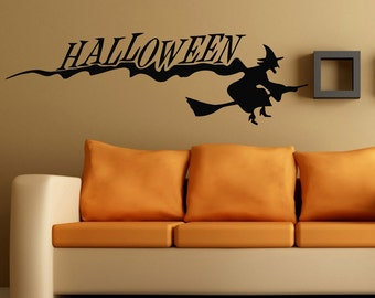 Happy Halloween Wall Decals Woman Witch On Broom Vinyl Decal Sticker  Interior Design Living Room Home