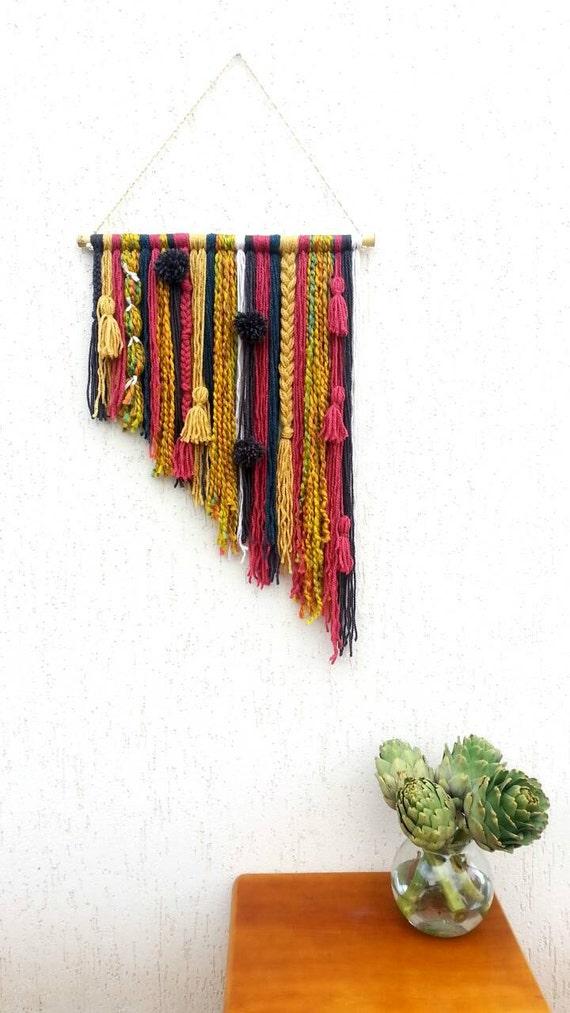 Yarn tapestry bohemian decor wall hanging yarn mobile boho for Yarn wall hanging