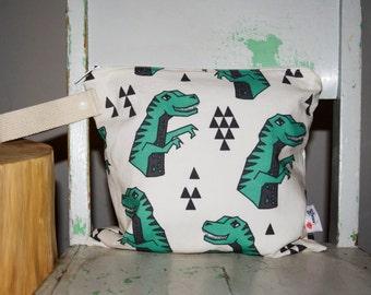 T-Rex Wet Bag, Green Geometric Dinosaurs - Dinos - Waterproof Wetbag Swimsuit bag Nappy Bag Procare Liner