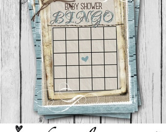 Baby Shower BINGO, Boy, Baby Shower Game Card, Rustic, Blue, Teal, Burlap, Wood, Twine, Rope, Country, Western - INSTANT DOWNLOAD