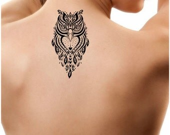 Temporary Tattoo 1 Owl Tattoo Ultra Thin Body Art