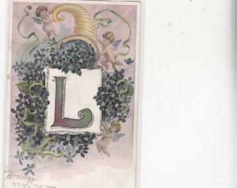 "Antiique Alphabet Letter ""L"" Cherubs-Cornucopia Of Flowers-Glitter-Antique-Postcard-Undivided-Embossed"