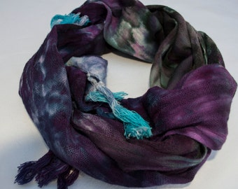 Woven Cotton Scarf - Hand Dyed (Purple, Tuquoise, & Black)