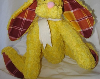 Yellow and Plaid Chenille Bunny