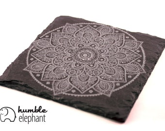 Slate Coasters: Mandala - Set of 4