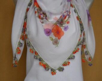 Turkish Scarf, Cotton Scarf, Crochet Lace Edging, Yemeni, Oya, White, Orange, Purple, Flowers, Floral