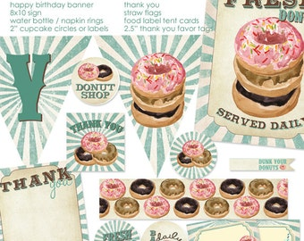 Blue Donut Party Printable Party Pack - Instant Download - NOT personalized