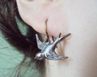 Sparrow Bird Dangle Charm Earrings