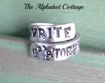 Write Your Story Wrap Ring--Graduation Gift--Writer Gift--Hand Stamped Ring--Daughter Gift