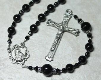 Men's Black Catholic Rosary; First Communion Rosary ; Pewter Scapular Rosary
