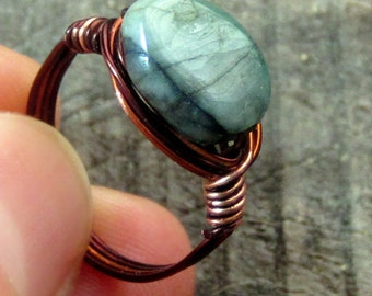 Natural Emerald Ring, Raw Emerald, Genuine Natural Emerald, Copper Wire Wrapped Ring, Raw Stone Ring, Copper Wire Ring, Attract Love