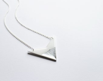 silver dipped pendant white and silver jewelry geometric pendant resin pendant white minimalist jewelry long silver chain long necklace