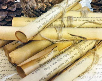 15 Rolled Up Vintage Book Pages, Tea Stained, Tied With Twine, Wedding, Cloche Decor, Party Favors, Center Piece, Book Club, Made To Order