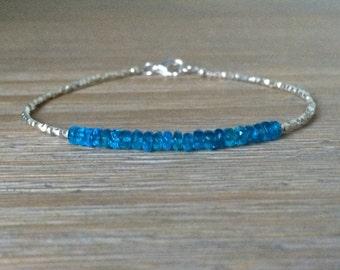 Neon Blue Apatite and Fine Silver Bracelet, Beaded Gemstone Bracelet