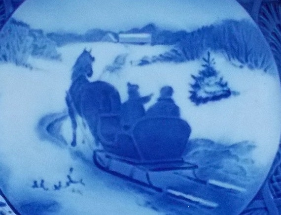 Vintage Blue Royal Copenhagen Plate, 1964 Fetching the Christmas Tree Winter Scene, Horse and Sleigh, Country Holiday Decor