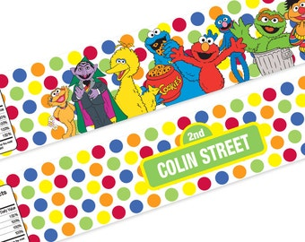 Personalized Printable Sesame Street inspired Water Bottle Labels / Food Labels / Custom Name and Age