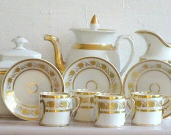 French Antique Napoleon III Tea Set  // French Antique Napoleon III Coffee Set