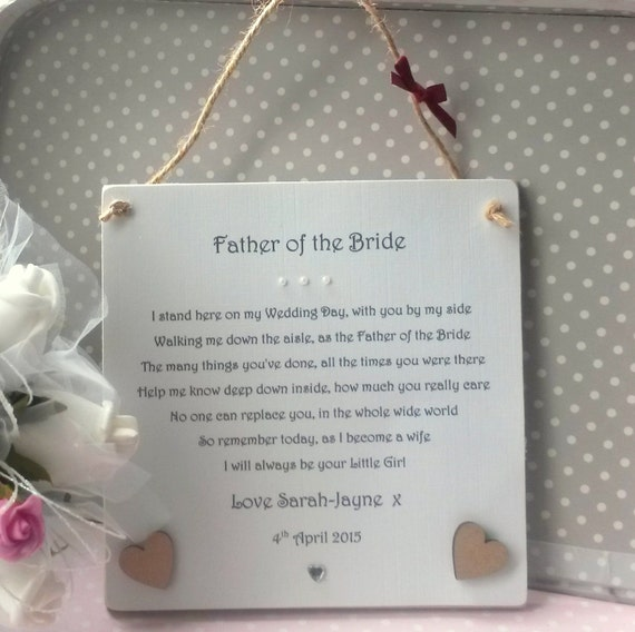 Wedding Day Gift For Father Of The Bride : Father of the Bride gift, Personalised Wedding Thank You Plaque from ...