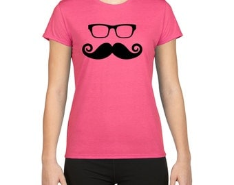 Glasses And Mustache T-shirt,Tees, Mustache, Glasses, Features, Style, Fashion, Funny, Retro,Gift, DTG, Digital Printing, Direct To Garment