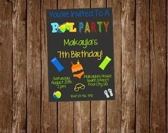 Chalkborad Pool Party Birthday Invitation