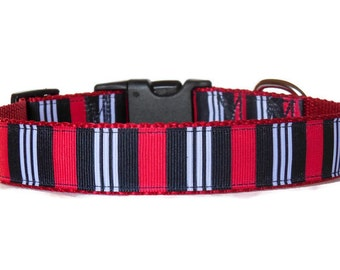 Preppy Red, Black & White Striped Adjustable Boy Dog Collar (Buckle or Martingale)