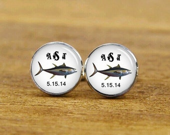 salmon cufflinks, tuna cufflinks, custom fish cufflinks, custom initial and date cufflinks, custom weddding cufflink, groom cufflinks