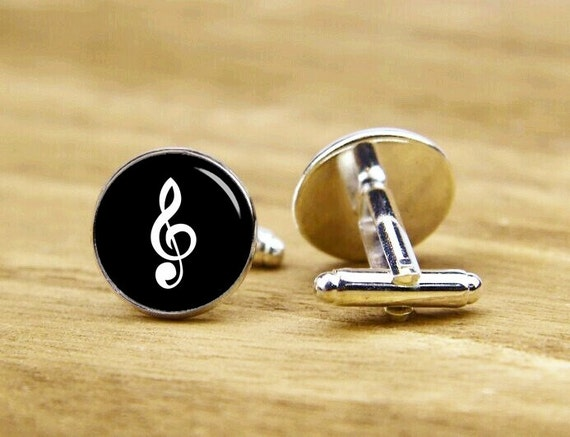 Treble Clef Cuff Links, Music Cufflinks, Musical Note Gift, Custom Music Note Cufflinks, Round, Square Cufflinks, Tie Clip Or A Matching Set