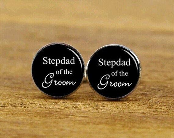 stepdad of the groom cufflinks, stepdad of the bride cufflinks, custom wedding cuff links, groom, round, square cufflinks, tie clip or set