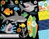 Instant Download Digital clip art Shark vector graphics ocean sea creatures surf board anchor boy fish birthday invitation scrapbook beach