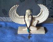 Pagan Prayer Beads - Egyptian Goddess Aset/Isis - Blue Goldstone, Goldstone, Lapis Lazuli, Scarab - Bird Charm