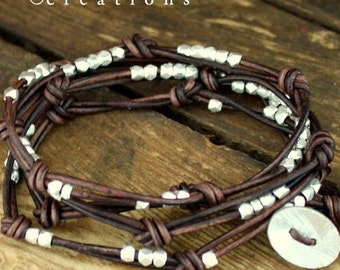 Knotted Leather Wrap Bracelet with Brushed Silver Beads
