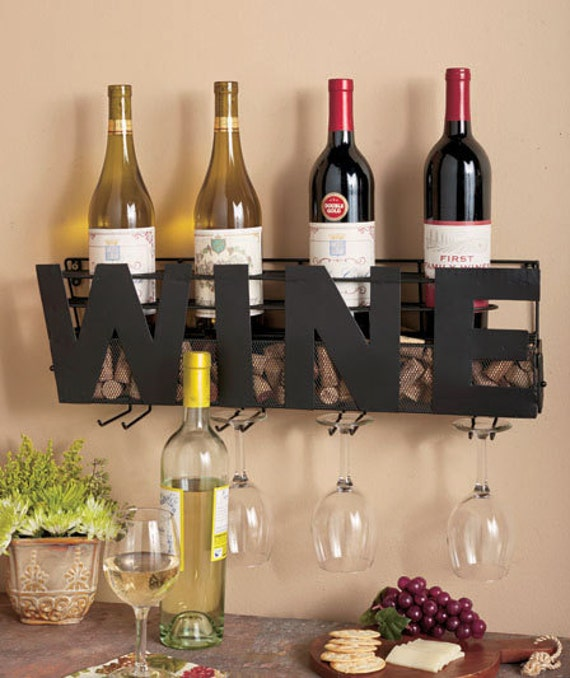 Wine Rack And Cork Holder Wall Wine Rack Wedding Gift Bridal