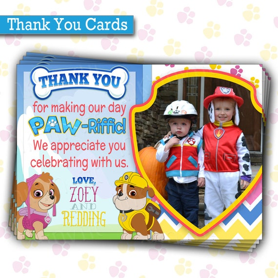 Paw Patrol Birthday Party THANK YOU Cards