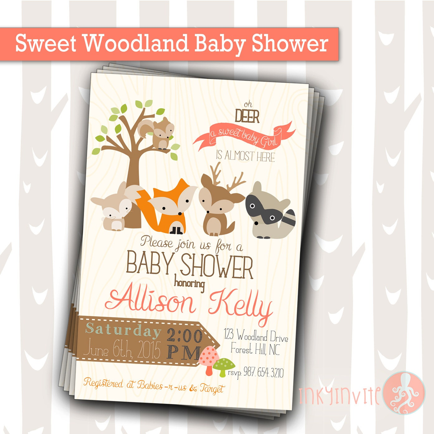 Sweet Woodland Baby Shower Invitation Baby Girl Woodland