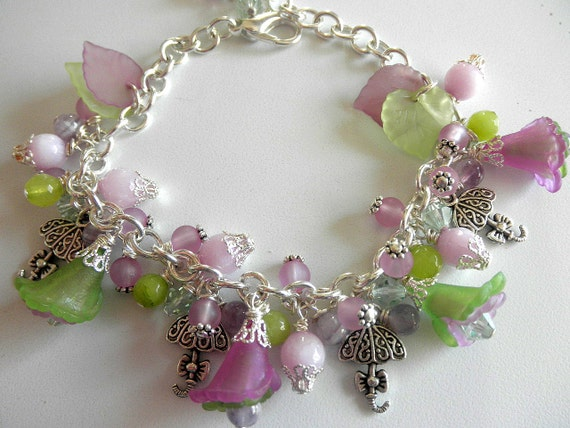 Purple and Lime Charm Bracelet Flower Bracelet Jade Bracelet  Jewelry for Her
