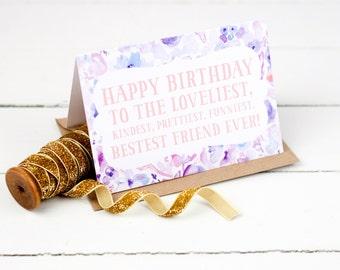 Best Friend Floral Birthday Card - BFF Birthday Card - Pretty Floral Card - Quote Birthday Card - Sister Birthday Card - Watercolour Card