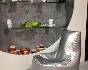 Bean bag silver, bag-chair Aviator, Bean bag chairs - genuine Leather Bean Bag Chair