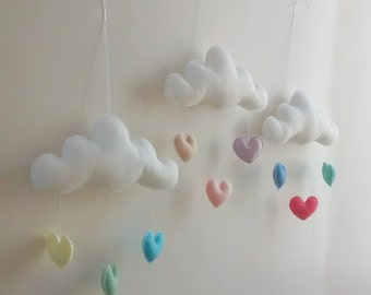 Love Cloud Mobile | Made to Order - Choose your Colors! | Nursery Decor | Baby | Kids | It's Raining Love!