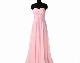 Pink Bridesmaid Dress, Chiffon Bridesmaid Dresses,Strapless A-line Bridesmaid Dress Long Prom Dresses